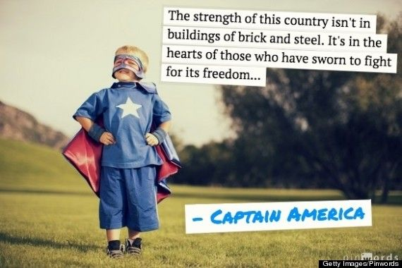 """""""The strength of this country isn't in buildings of brick and steel. It's in the hearts of those who have sworn to fight for its freedom..."""" Captain America"""