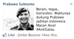 Kampanye Prabowo Subianto di Facebook Ads.  Screenshoot diambil di Facebook Ads bulan September 2012.