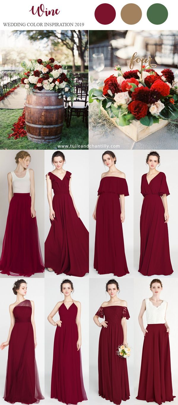 Wine Wedding Color Inspiration Ideas With Bridesmaid Dresses 2019 Wedding W Wine Color Bridesmaid Dress Winter Bridesmaid Dresses Burgundy Bridesmaid Dresses