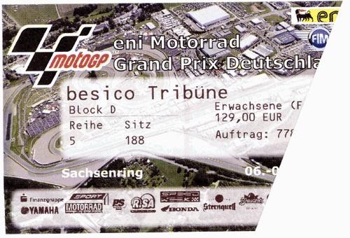 Sachsenring Moto GP 2012 Sitzplatzticket /seat ticket  --- Fr./Sa./So.