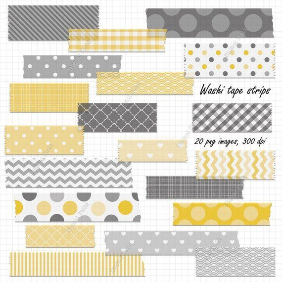 Digital Washi Tape Strips Yellow And Gray Printable Digital Clipart Set Instant Download Washi Tape Washi Tape Planner Washi