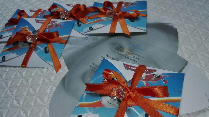 Convites de Batismo tema Aviões Baptism invitations, Plane's theme
