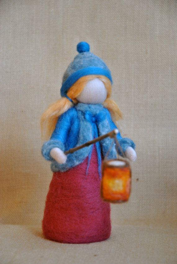 Waldorf inspired needle felted girl :  The Lantern Walk. Made to order. via Etsy