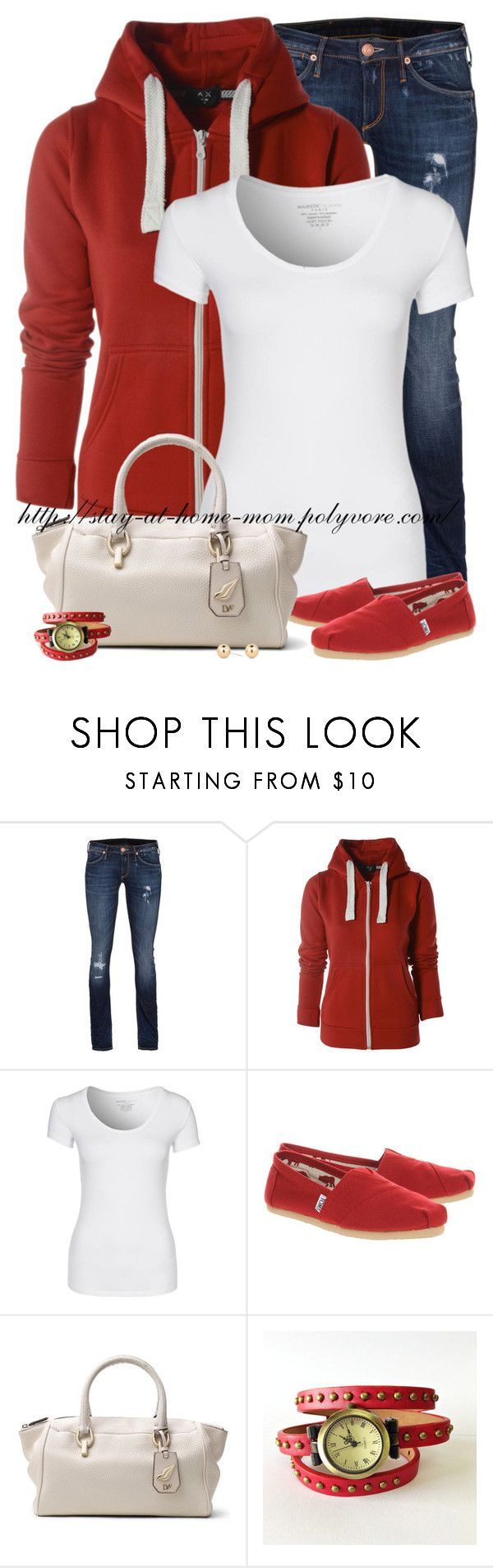 """AX Paris Red Hoody & Red Toms!"" by stay-at-home-mom ❤ liked on Polyvore featuring True Religion, AX Paris, Majestic, TOMS, Diane Von Furstenberg and Principles by Ben de Lisi"