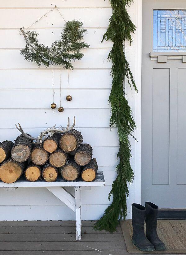 Scandinavian Christmas Porch Decor Including Fresh Garland Handmade Nordic Wall Scandinavian Christmas Decorations Christmas Porch Decor Minimalist Christmas