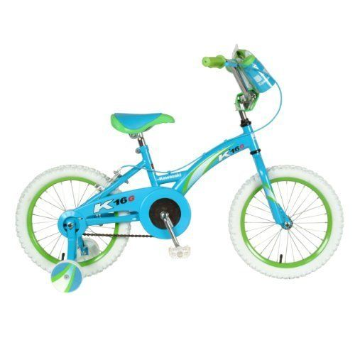 """Steel Frame - Kawasaki K16G Girls' Bike (16-Inch Wheels) by Kawasaki. $145.57. Kawasaki K16G Girls' Bike (16-Inch Wheels)Young ladies now have a real Kawaski® bike of their own. This feature packed 16"""" bike is just like the boys, features real air tires, full bearing construction, coaster brake, frame/handlebar pad-set, handlebar bag, training wheels and topped off with Kawasaki® graphics package that little girls will just love.This feature-packed 16-inch bicy..."""
