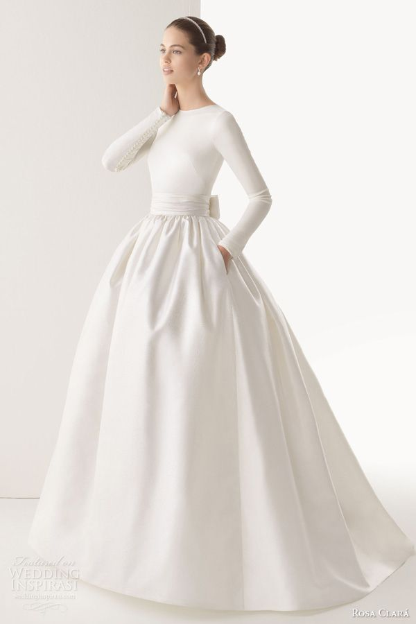 Simple all white winter wedding dress winter for Simple long sleeve wedding dresses