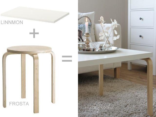 Table basse design pas chère en DIY #design #FROSTA #ikea #LINNMON #tablebasse