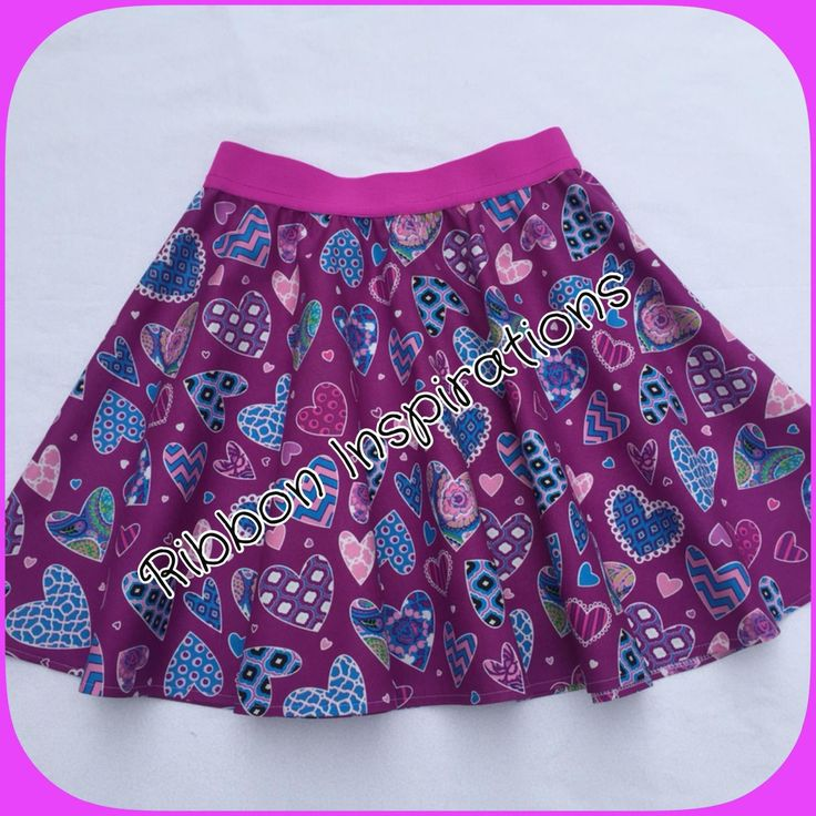 HANDMADE Size 9 Boo! Designs thigh length skater skirt in quilting cotton. Funky purple heart print. $29.