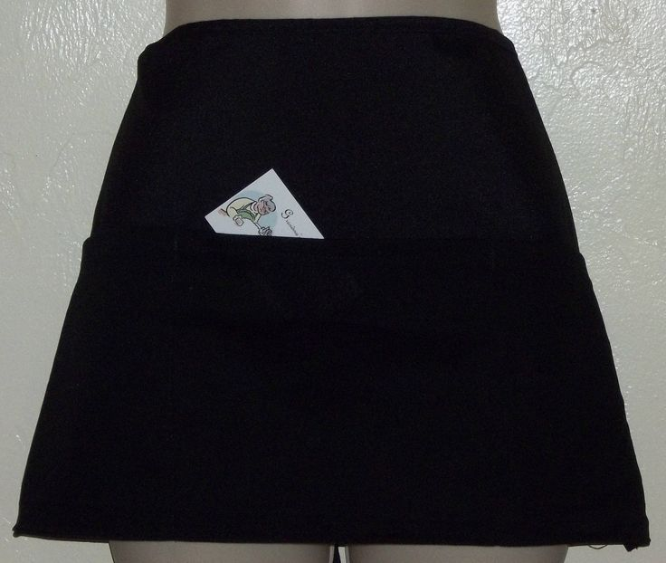Handmade server waitress waist apron Reversible Black apron on both sides like getting 2 aprons in 1 w/ three pockets on both sides 9001 R by Gmashomemadeaprons on Etsy