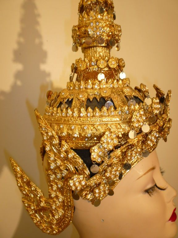 Thai Temple Dancer Headdress Crown | From a collection of rare vintage hats at http://www.1stdibs.com/fashion/accessories/hats/