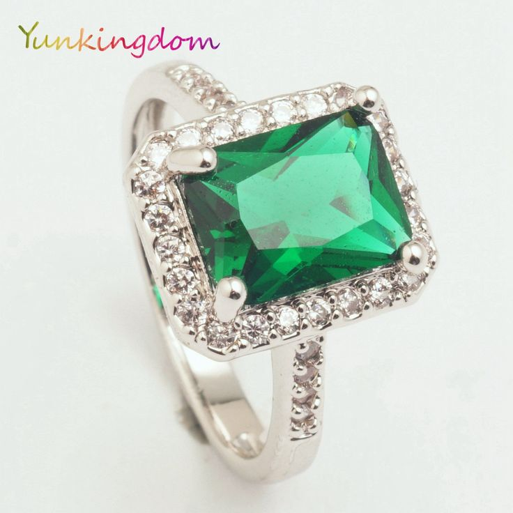 Yunkingdom Classic square wedding rings female green zircon crystal white gold plated ring