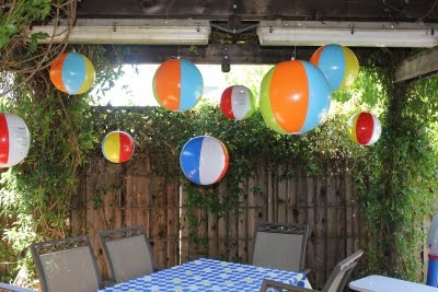 #shopkick #summerparty hang beach balls instead of balloons for decorations