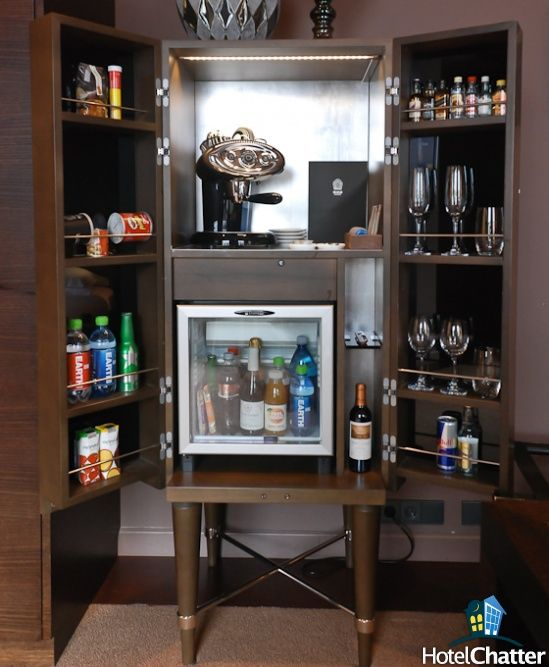 Fridge And Mini Bar That Retracts Into The Wall By The Push Of A Button