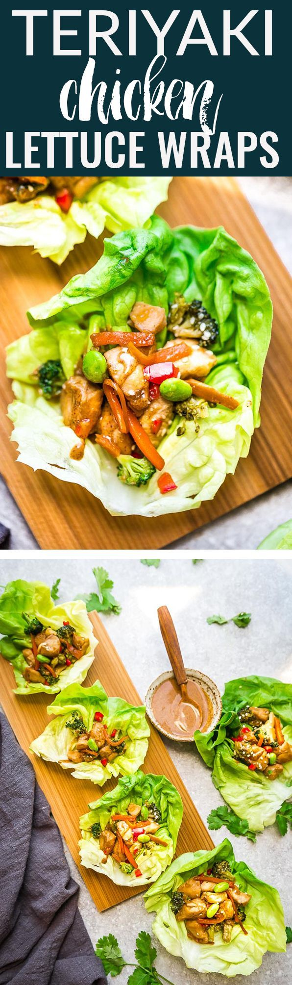 Teriyaki Chicken Lettuce Wraps – a light and healthy meal with all the favorite sweet and savory flavors of the popular takeout favorite and have low carb and ketogenic friendly options. Best of all, comes together super quick so they're perfect for busy weeknights or serving as an appetizer at a party. #keto #lowcarb #healty #teriyaki #lettucewraps #chicken