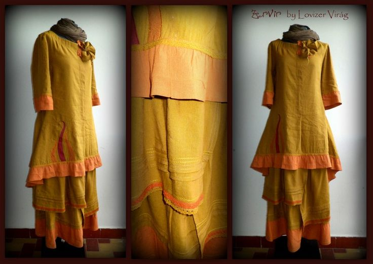 Mustard linen skirt & tunic by ZerVir