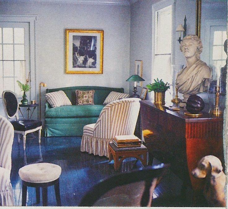 Albert Hadley.   Hadley's Connecticut country house with a Van Day Truex wash drawing above the sofa.  American Homestyle and Gardening, November 1999.                                                                                                                                                                                 More
