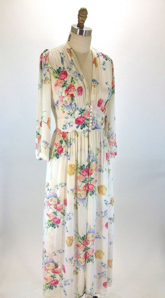 ~Charming 1940's floral maxi dress from 'Radcliff'. Originally made to be a dressing robe, this garment can double up as both dress and dressing robe~