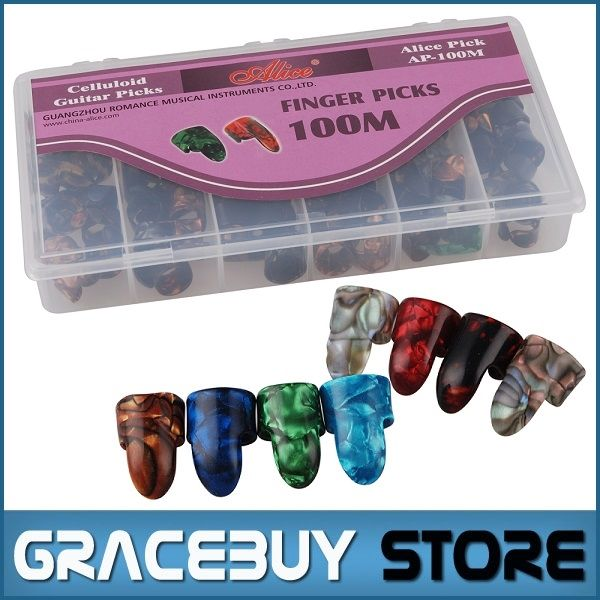 49.40$  Watch now - http://aiudd.worlditems.win/all/product.php?id=1580689993 - Wholesale Alice AP-100M Guitar Finger Pick Celluloid Puas Suitable for Index Finger , 100 pcs set / box,  Free Shipping palheta