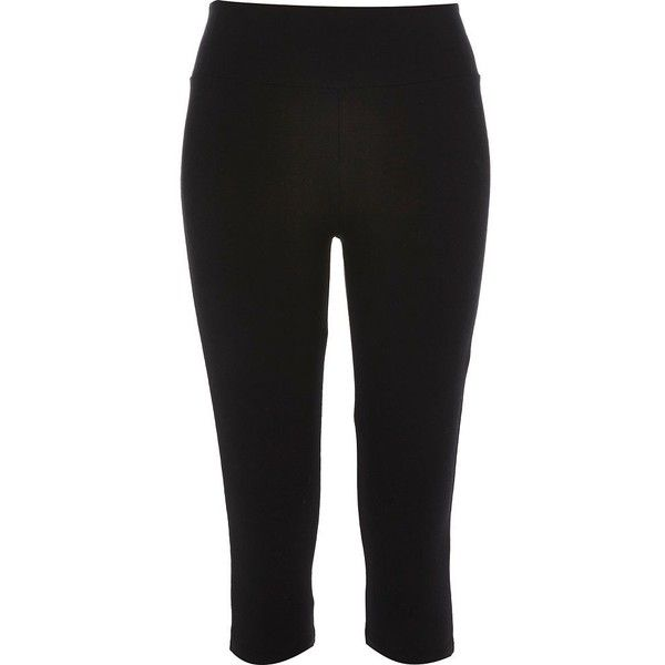 River Island Black pedal pusher leggings (13 AUD) ❤ liked on Polyvore featuring pants, leggings, trousers, tall pants, legging pants, tall yoga pants, yoga pants and tall leggings
