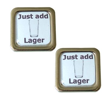 Just Add Lager Cufflinks - stick a nice cold lager in there please - Bliss