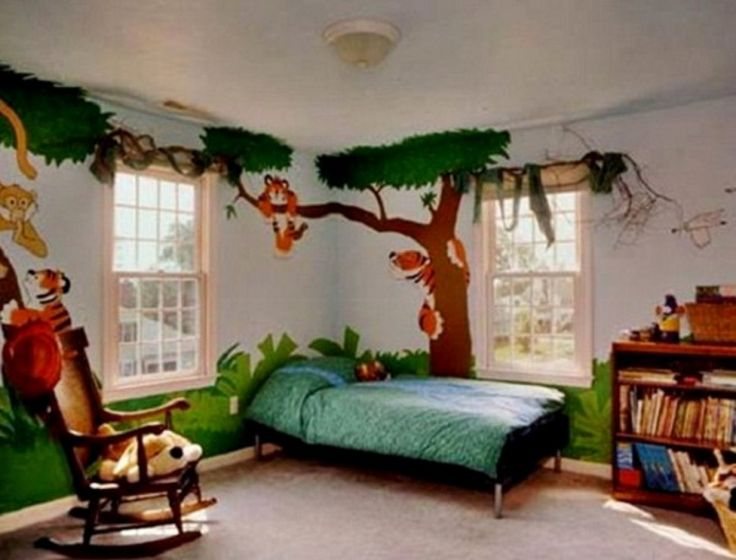 Adorable Safari Themed Bedroom For Boys With Tropical Tree Wall Painting  And Cooling Hernlock Comforter Design