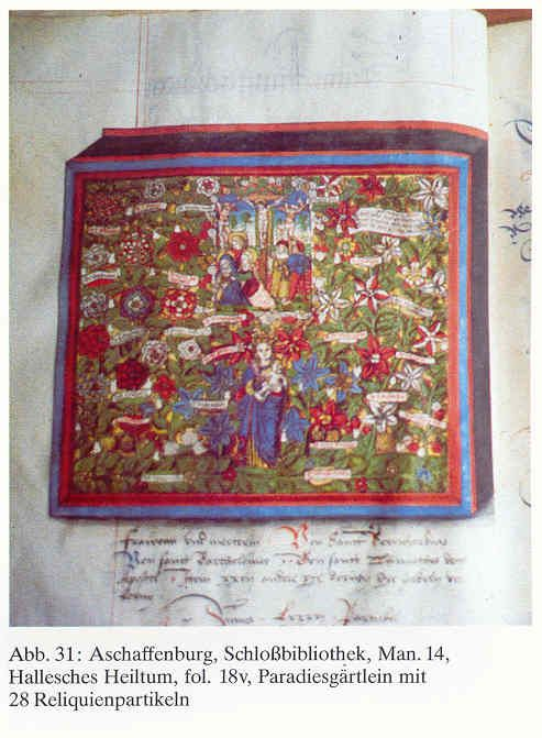 """Period documentation of a shrine known as """"Paradise Gardens"""" that featured silk embroidered flowers. From the fabulous """"Medieval Silke Flowers"""" site: roxelana.com/..."""