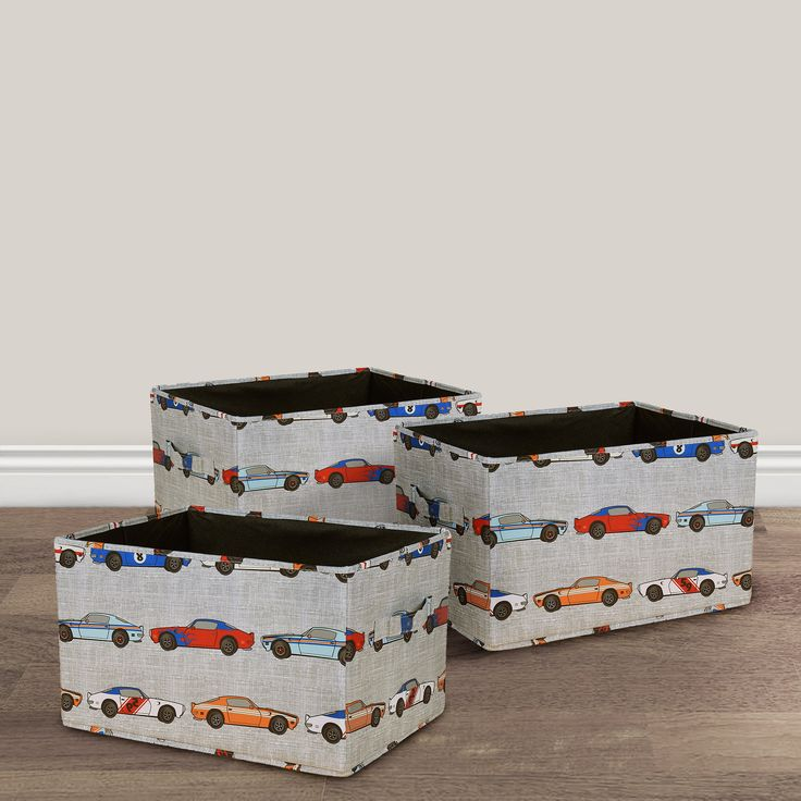 Race Cars Fabric Covered Collapsible Box 3-Piece Set