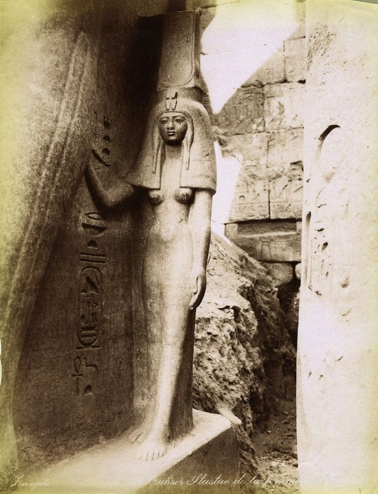les-sources-du-nil: Adelphoi Zangaki (Zangaki Brothers, active 1870s-1890s) Statue of Queen Nefretiri, Temple of Amen, Luxor, New Kingdom - Dynasty XIX Albumen print, late 19th century