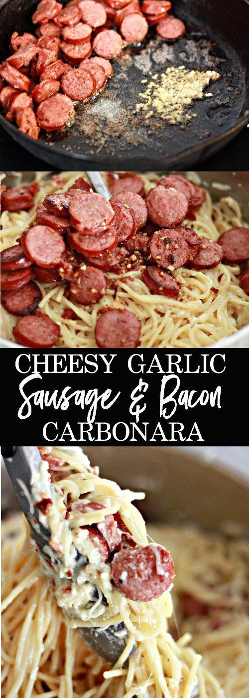 Cheesy Garlic Sausage and Bacon Carbonara