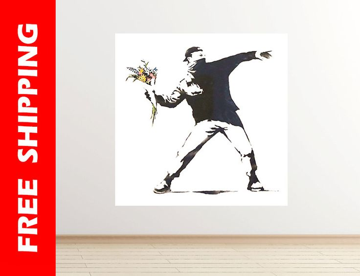 Throwing Flowers Banksy wall decal graffiti art flowers wall decal banksy print graffiti street art Banksy wall art gift by Banksy 63 square by WallDecalsShop on Etsy https://www.etsy.com/listing/251263784/throwing-flowers-banksy-wall-decal