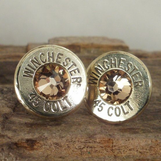 Bullet Earrings - Stud Earrings - Ultra Thin - Colt 45 - Gold Rush. $17.99, via Etsy. Lauren woulds wear these!