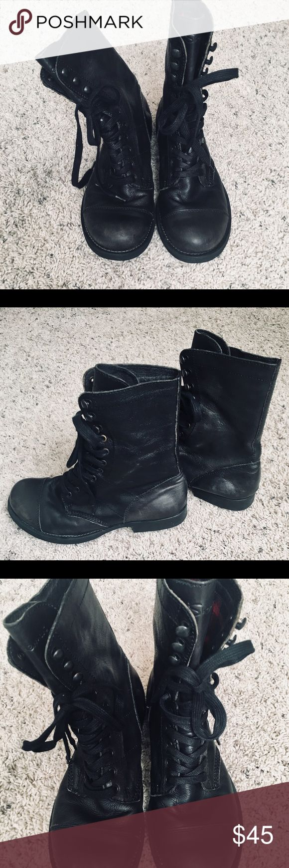 BEN SHERMAN Black Leather Lace up Boots Combat/Utility style awesome boots in very good condition-  Men's 7 Euro 40 but they are unisex and women can wear them if they are a size 10 Euro 42) Ben Sherman Shoes Combat & Moto Boots