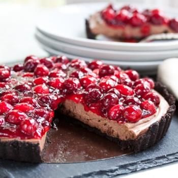 Cranberry Chocolate Cream Tart...I think it would be yummy to sub out canned cherries instead of the cranberry topping.