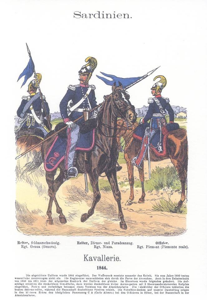 Band XVII #13.- Sardinien. Kavallerie 1844. Rgt. Genua. Rgt. Nizza. Rgt. Piemont.