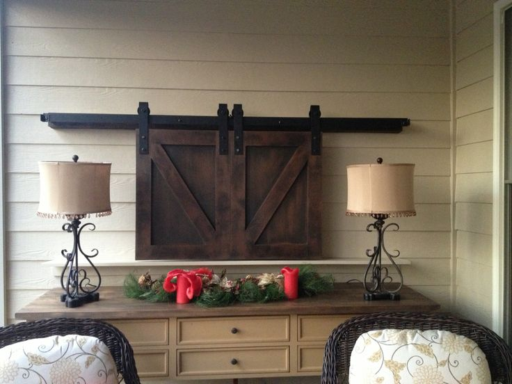 Barn Doors over TV - custom sized and finished. www.europeanantiquepine.com