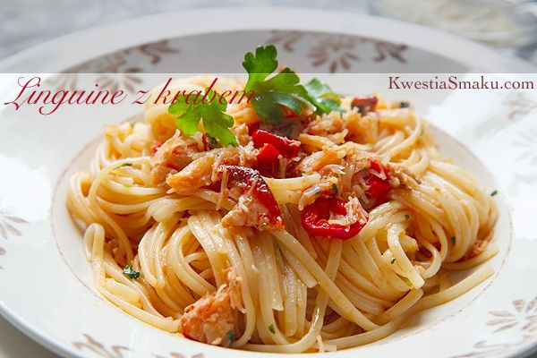 Linguine with crab meat, chilli, garlic and parsley. Simple pasta with seafood.