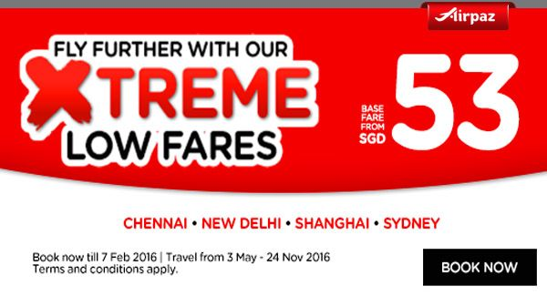Traveling soon ? Better check out this promotional flights from AirAsia Xtreme Low Fares on Airpaz. Take your friends and traveling together for the best traveling experience. Fly directly from Singapore to Chennai, New Delhi, Shanghai, Sydney, and many other great travel destination. What are you waiting for? Book Today !  www.airpaz.com