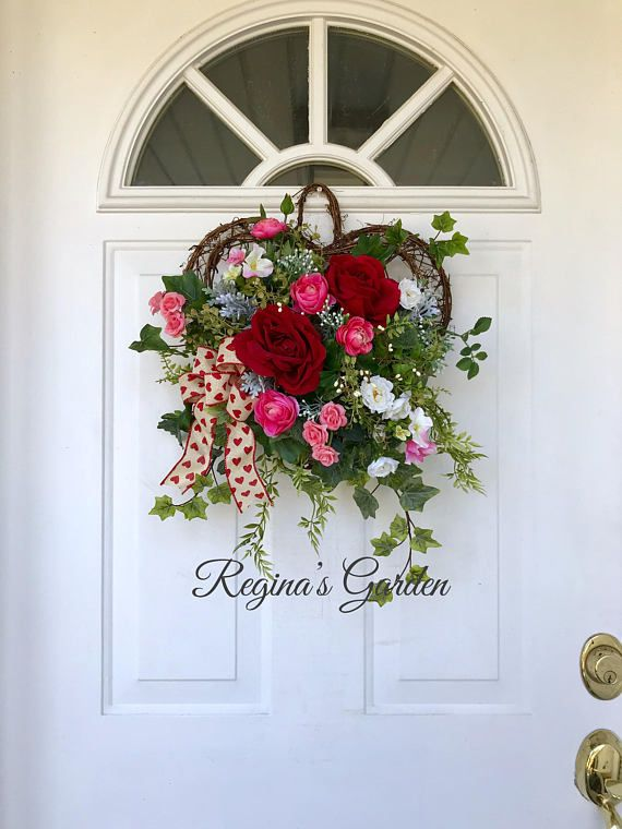 Valentines Day Wreath Spring Wall Basket Door Flower Arrangement Front Decor Red Rose Reginas Garden This Lovely H