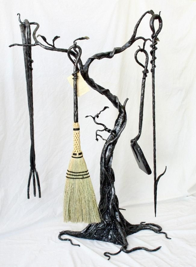 fireplace tools, wrought iron, tree, wrought iron, steel, welded sculpture, broom, shovel, fire poker, tongs