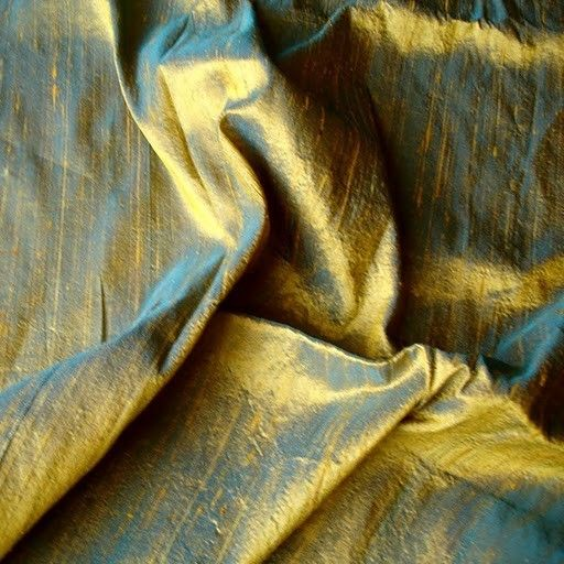 Turquoise And Gold Color 100 Percent Pure Silk by FabricMart, $18.90