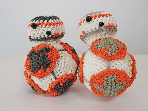 BB-8 Droid from Star Wars Rainbow Loom Bands Amigurumi Loomigurumi Hook Only Tutorial - YouTube