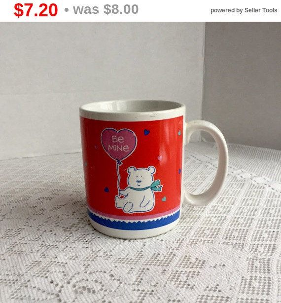 Valentine Sale Vintage Red Teddy Bear Coffee Cup for Valentine's Day Made in Korea / Ceramic Red and White Coffee Mug by Hallmark by vintagepoetic on Etsy