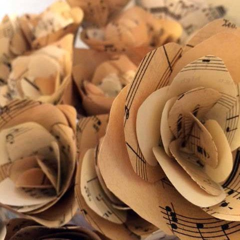 Vintage Music Score Paper Roses. Lovely for an Event Wedding