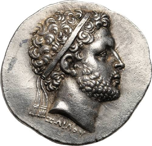 "Macedon, Kings of Macedon, Perseus, 179-168 BC, Tetradrachm, c. 179-178 BC  17.51g. Mamroth, Perseus 1; AMNG III.2 p. 195, pi. XXXV.23 (same dies); SNG Alpha Bank-1130 var. (control marks); SNG Munchen-1196 (same obverse die); Hunterian p. 346, 5 (same dies); De Luynes-1712 (same dies). Obverse: Signed ΖΩΙΛΟΥ below portrait on obverse, meaning ""Of Zoilos."""