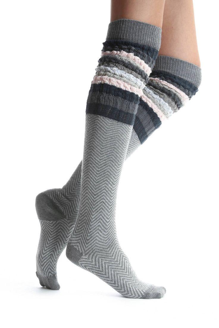 Lemon Sophie Herringbone Over-The-Knee Boots Socks   South Moon Under