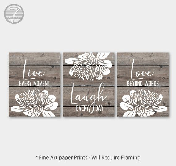 Live Laugh Love Wall Art Cottage Faux Wood Farmhouse With Floral Fine Art Print Set Of 3 5x7 8x10 Or 11x14 Love Wall Art Art Print Set Abstract Floral Art
