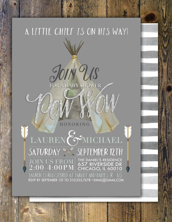 TEEPEE Baby Shower Invitation Indian Baby shower by LyonsPrints