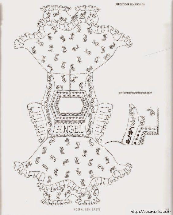 Волшебный мир пергамано: Шикарная детская открытка платье для девочки + шаблон, в технике парчмент крафт.