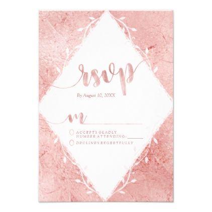 #wedding #responsecards - #Rose Gold Shimmer Metallic Wedding RSVP Response Card